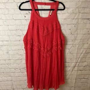 Coral crepe dress with embroidered chevron pattern